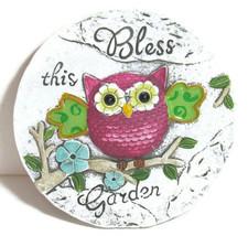 """Garden Round Stone Owl """"Bless this Garden"""" sign decoration 6"""" Diameter C... - $16.82"""