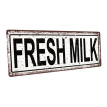 Fresh Milk Metal Sign; Wall Decor for Kitchen and Dinning Room - $24.74+