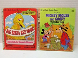 Lot Of 2 Little Golden Books 1977 Big Bird's Red Book & 1978 Mickey Mous... - $9.90