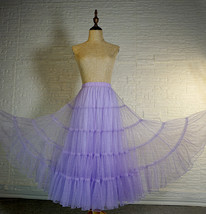 Blue Glitter Maxi Tulle Skirt Outfit Tiered Sparkle Tulle Skirt A-line Plus Size image 9