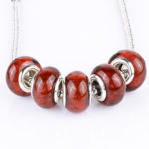 Bling Brown 5pcs MURANO bead LAMPWORK suit European Charm Bracelet - $5.53
