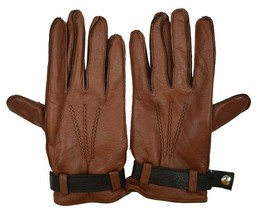 Brooks Brothers Men's Genuine Leather Cashmere Lined Gloves, Brown, Sz M... - $341.55