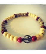 Wood Bead Peace Sign Anklet. Help Support Wounded Warrior  - $4.55