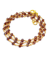 3-4MM Coated Red Garnet Beads Gold Plated Rosary Chain Gemstone Necklace - $19.87+