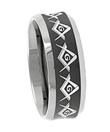 Tungsten Carbide Black Silver Masonic Wedding Band Ring - Price for one ... - $39.99