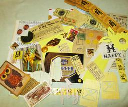 Yellow Mixed Media Altered Art Inspiration Kit - 50 pcs - Found Objects -  - $9.25