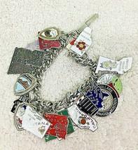 Vintage Charm Bracelet Travel State 22 Charms Sterling & Enameled Japan  - $94.05