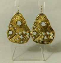 Vintage Antique Art Deco gold tone earrings  - $84.15