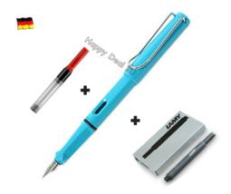 Lamy Safari Sky Blue Fountain Pen F Nib with Free Converter + 5 black T10 ink - $24.23