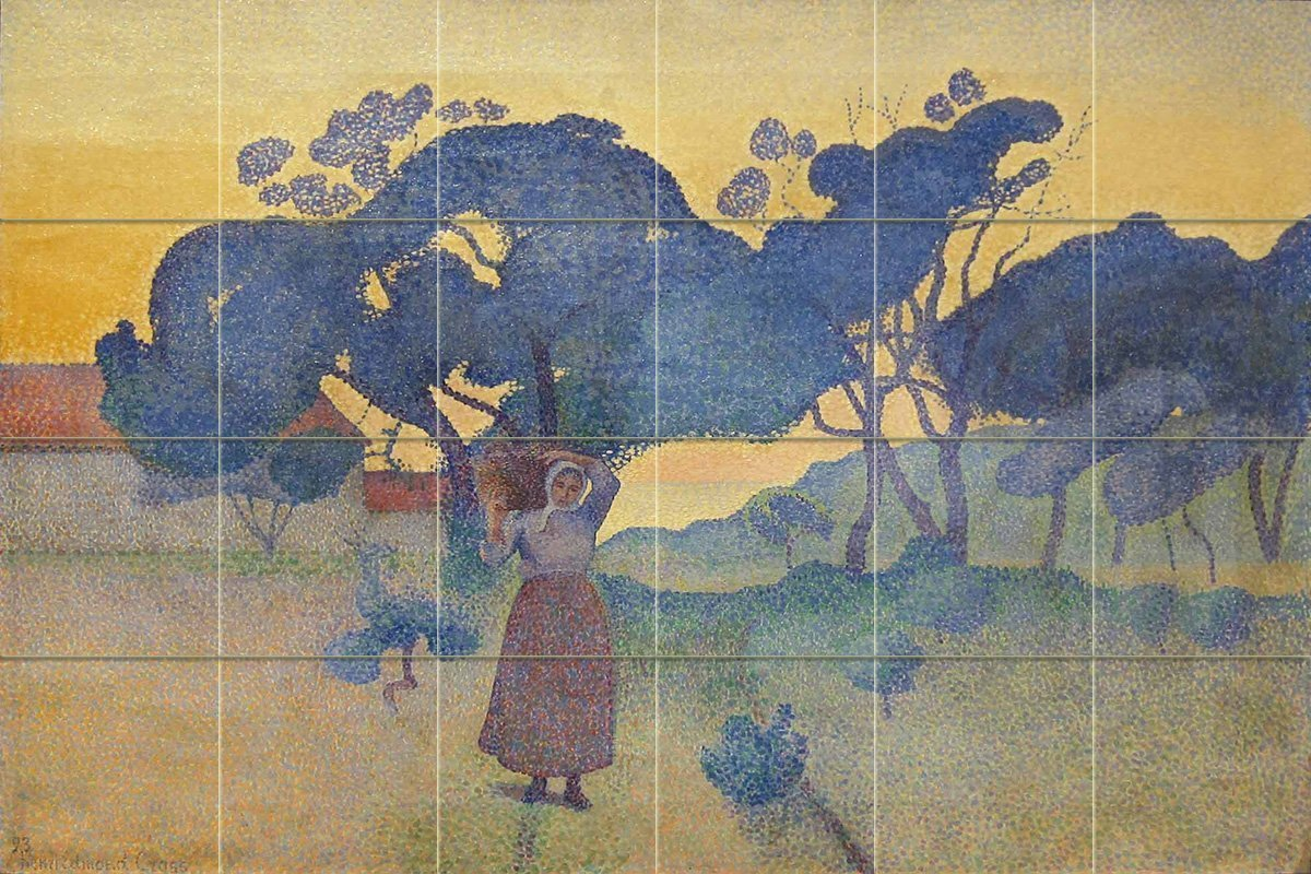 The farm evening by henri edmond cross 24 tile art for Crossing the shallows tile mural