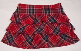 LIMITED TOO GIRLS SIZE 16 SKORT RED PLAID SHIMMERY SILVER THREADS RUFFLE... - $12.61