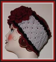 Large Burgundy Rose Gray Ski Head Band Headband Black Ear Warmer Made In... - $29.00