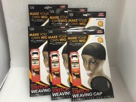 LOT OF 6 PACKS OF QFITT DELUXE STRETCH WEAVING CAP 5018 BLACK