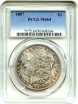 1887 $1 PCGS MS64 - Morgan Silver Dollar - Colorful Obverse Toning - $82.45