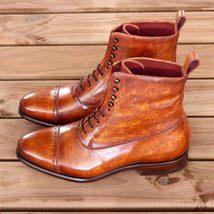 Men's Handmade Cognac Patina Genuine Calf Leather Boots Custom Made For Men - $189.99 - $219.99