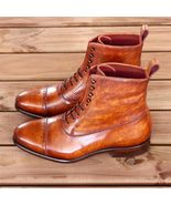 Handmade Best Cognac Patina Calf Leather Boots Custom Made For Men - $189.99+