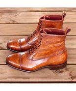 Handmade Best Cognac Patina Calf Leather Boots Custom Made For Men - $189.99+