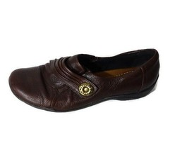 Clarks Artisan Slip-on Loafers Comfort Shoes Leather Women Size 6W Brown - $23.74
