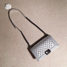 AUTH CHANEL LIMITED EDITION METALLIC SILVER PERFORATED LAMBSKIN MEDIUM BOY BAG  image 12