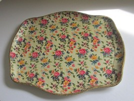 MID CENTURY SHABBY PAPIER MACHE ROSE & FLORAL CHINTZ Chic TRAY Made in J... - $14.80