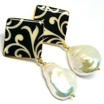 Silver Earrings 925, Hanging, Pearls Baroque Style Drop, Decoration White Black image 1