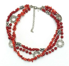 Vintage Signed Premier Designs Firecracker Red Multi Three Strand Necklace - $17.82