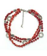 Vintage Signed Premier Designs Firecracker Red Multi Three Strand Necklace - €15,84 EUR