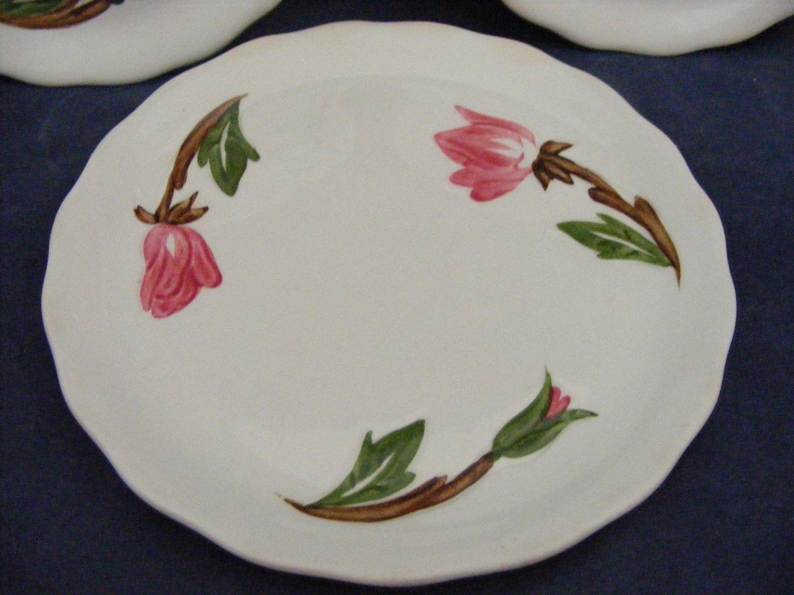 "3 Continental Kilns Green Arbor Pink Magnolia 6.5"" Bread Plates Hand Painted"