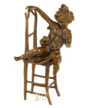 Antique Home Decor Bronze Sculpture shows Girl with a Cat signed * Free Air  - $199.00