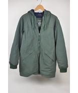 Men's LL BEAN Green Quilt/fleece lined Long Coat Thinsulate Nylon M OJNY... - $44.50