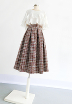 A-line Winter Tweed Skirt Outfit High Waisted Plus Size Burgundy image 11