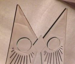 BIG Vintage JON GILMORE Art Glass OWL Mirror Sculpture Era Mid Century Signed image 5