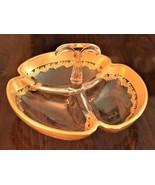 Depression Glass Elegant center-handle Gold-trimmed Relish Dish, Tiffin? - $35.95