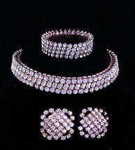 Vintage Rhinestone parure / 1/20th 10kt white gold top / expansion choker  - $245.00