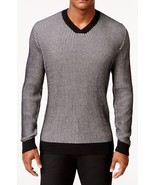 NEW MENS ALFANI REGULAR FIT V NECK WAFFLE KNIT COTTON PULLOVER SWEATER $70 - $18.99