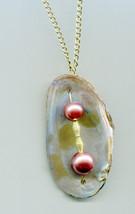 clam sea shell pearl necklace gold chain glass bead bronze handmade natu... - $4.99