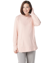 AnyBody Loungewear Small French Terry Sweatshirt with Side Snaps Pink Ho... - $17.59