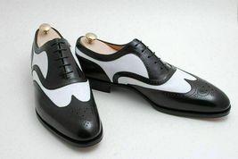 Handmade Men's Black & White Leather Heart Medallion Oxford Dress/Formal Shoes image 4