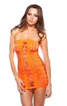 NEW FANTASY LINGERIE WOMEN'S DIAMOND CUTOUT TUBE DRESS ORANGE #B626 ONE SIZE