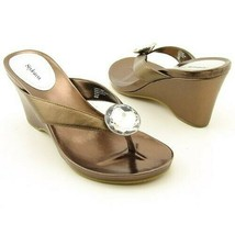 Style Company Co Shoes Size 9 Bronze Wedge Heel Slide On Sandal NEW - $35.78