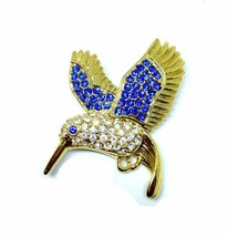 Signed PS Co, Rhinestone Humming Bird Pin Brooch, Vintage Figural Brooch - $19.79