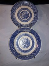 2 Piece Blue Willow 1 Saucer and 1 Drinking Saucer on A Wall Hanger - $9.50