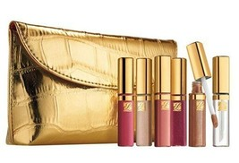 NIB Estee Lauder 6 Pure Color Crystal Lip Gloss Holiday Set with Croc Go... - $46.52