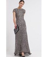 Adrianna Papell Short Sleeve Sequin Mesh Gown Sz 10 Lead - $130.50