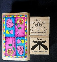 Stampin Up Rubber Stamp Lot 3 Vintage Dragonflies Dragonfly Flowers Skyk... - $9.86