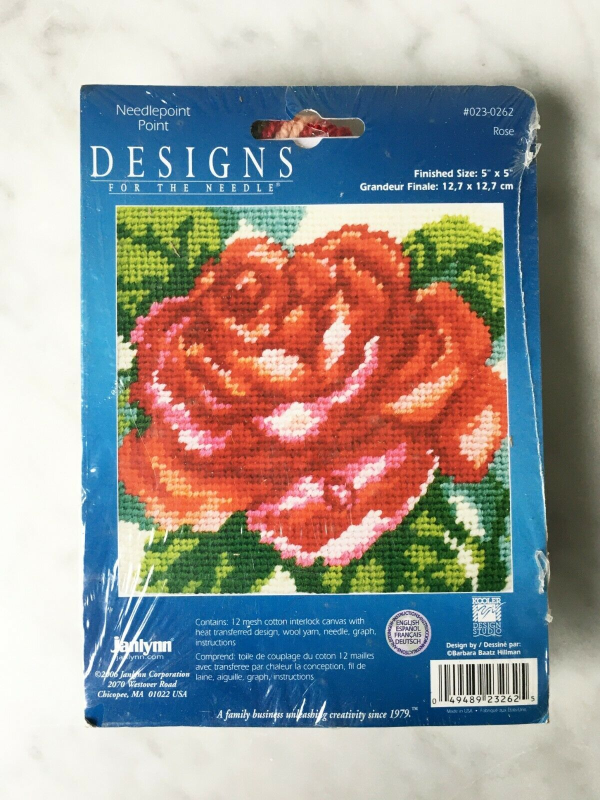 "Primary image for Janlynn Designs For The Needle Red Rose Needlepoint Kit #023-0262 - 5"" x 5"""