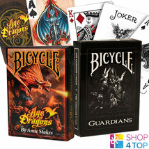 2 DECKS BICYCLE 1 ANNE STOKES AGE OF DRAGONS AND 1 GUARDIANS PLAYING CAR... - $14.87