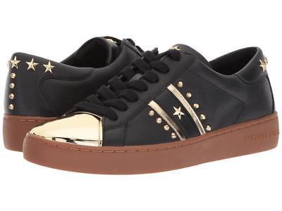 Michael Kors MK Women's Frankie Stripe Leather Sneakers Shoes Black/Pale Gold