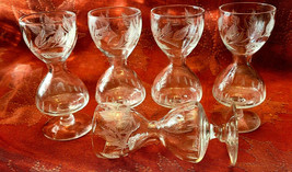 Set of 5 HOURGLASS Shaped Etched Glass Stemmed Shot / Layered Liqueur Glasses