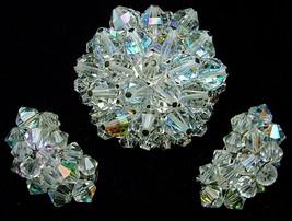 Vintage Set Brooch & Earrings Crystal Aurora Borealis Cluster Faceted Beads - $19.95